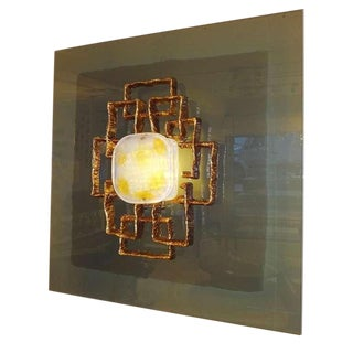 Angelo Brotto Large Lit Wall Sculpture Italy circa 1968 For Sale