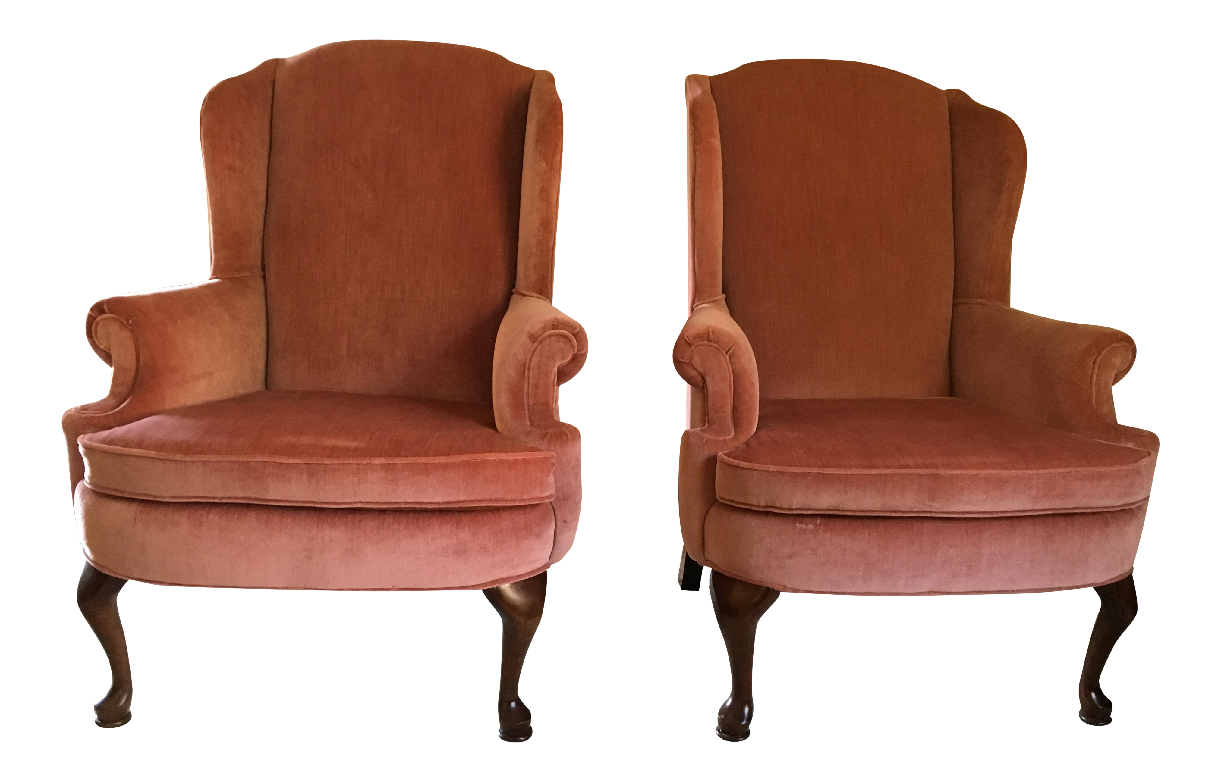 Broyhill Velvet Wingback Chairs   A Pair