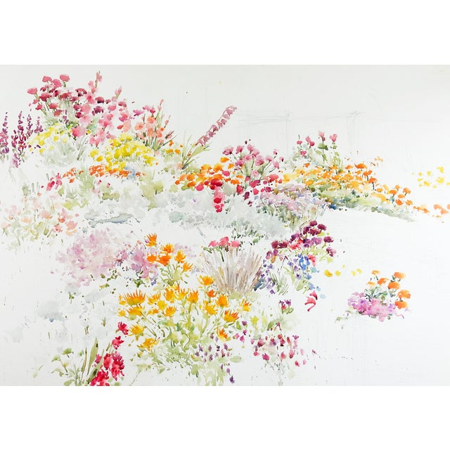 Late 20th Century Garden Flowers Watercolor Painting For Sale - Image 5 of 5