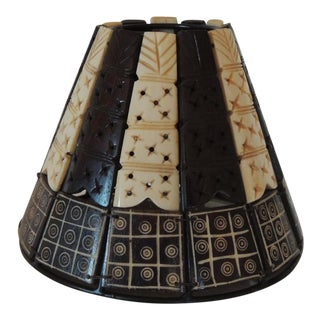 Faux Bone & Palm Small Clip on Bakelite Lamp Shade For Sale