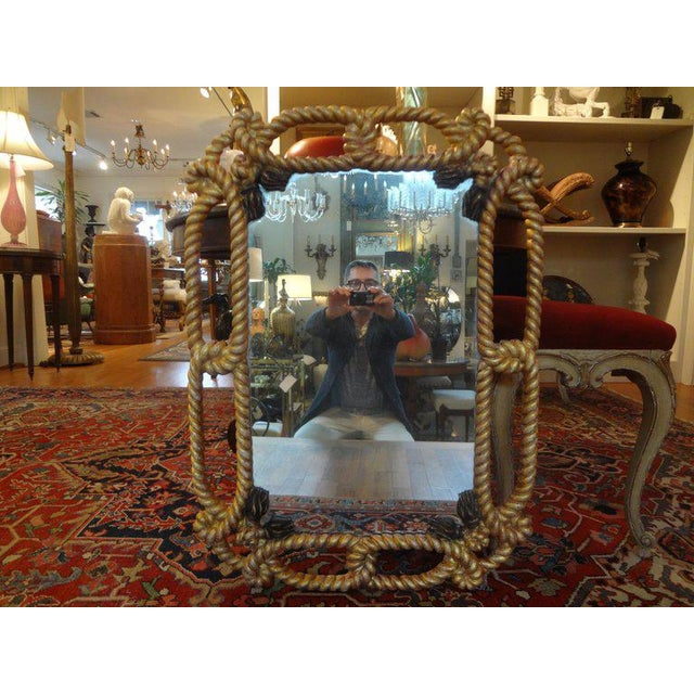 Gold Italian Gilt Wood Mirror With Rope and Tassels For Sale - Image 8 of 9