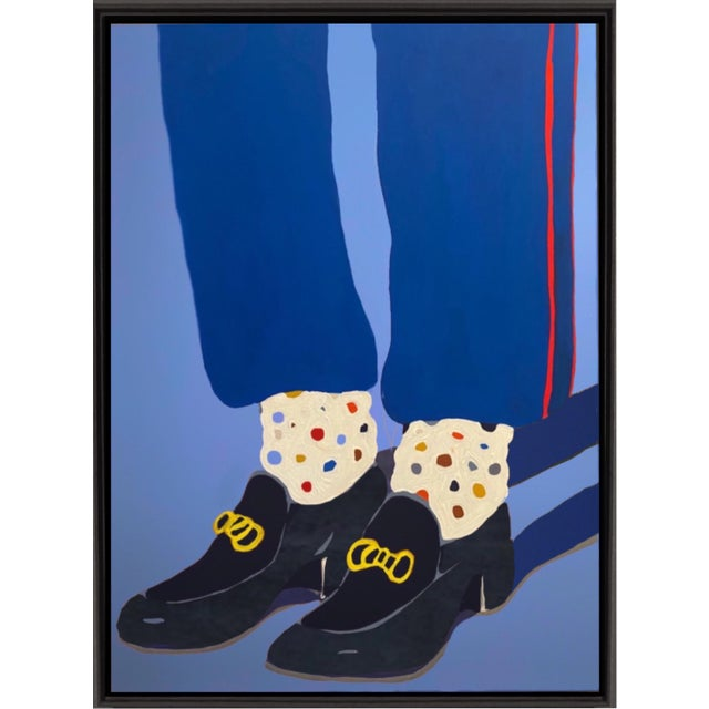 """""""Cuban Heels"""" Contemporary Figurative Acrylic Painting by Brooks Burns, Framed For Sale"""