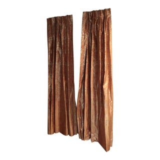 Burned Orange and Gold Silk Drapes - a Pair For Sale