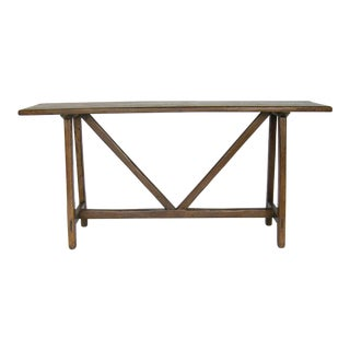 Custom Walnut Wood Console With Straight Legs For Sale