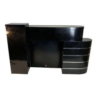 1930s Art Deco Asymmetrical Fireplace With Curved Chrome Band Design For Sale