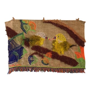 Mid Century Weave Knit Bird Tapestry Wall Hanging For Sale