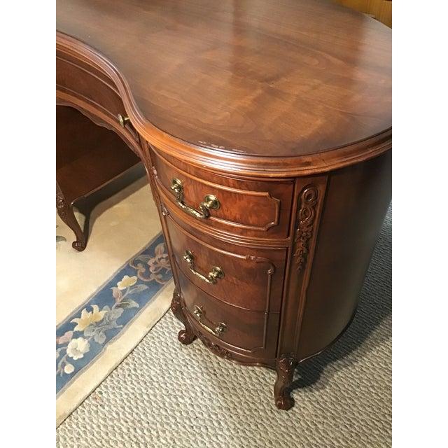 19th Century Style Walnut Burl Kidney Desk/Vanity For Sale - Image 12 of 13