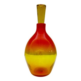 Blenko Tangerine Art Glass Decanter, 1964 For Sale