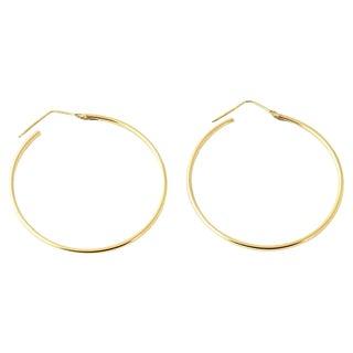 20th Century Italian 18k Gold Hoop Earrings - a Pair