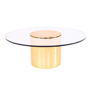 Paul Mayen for Habitat Mid Century Brass and Glass Drum Barrel Coffee Table For Sale