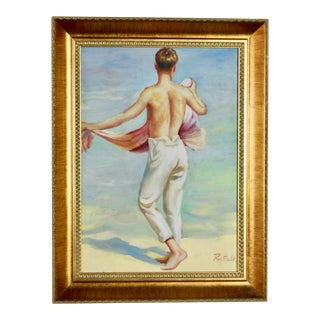"1950's ""boy on Beach"" Palm Springs Painting Signed by R. Faulk For Sale"