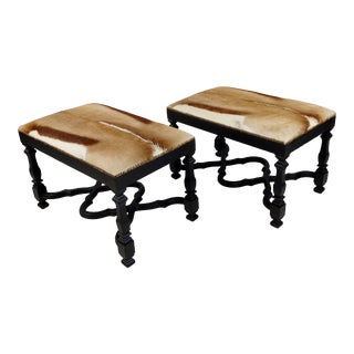 Rectangular Ottomans With Animal Hide - a Pair For Sale