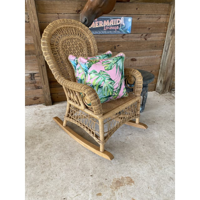 1980's Vintage Fiddlehead Wicker Rocking Chair For Sale - Image 11 of 12