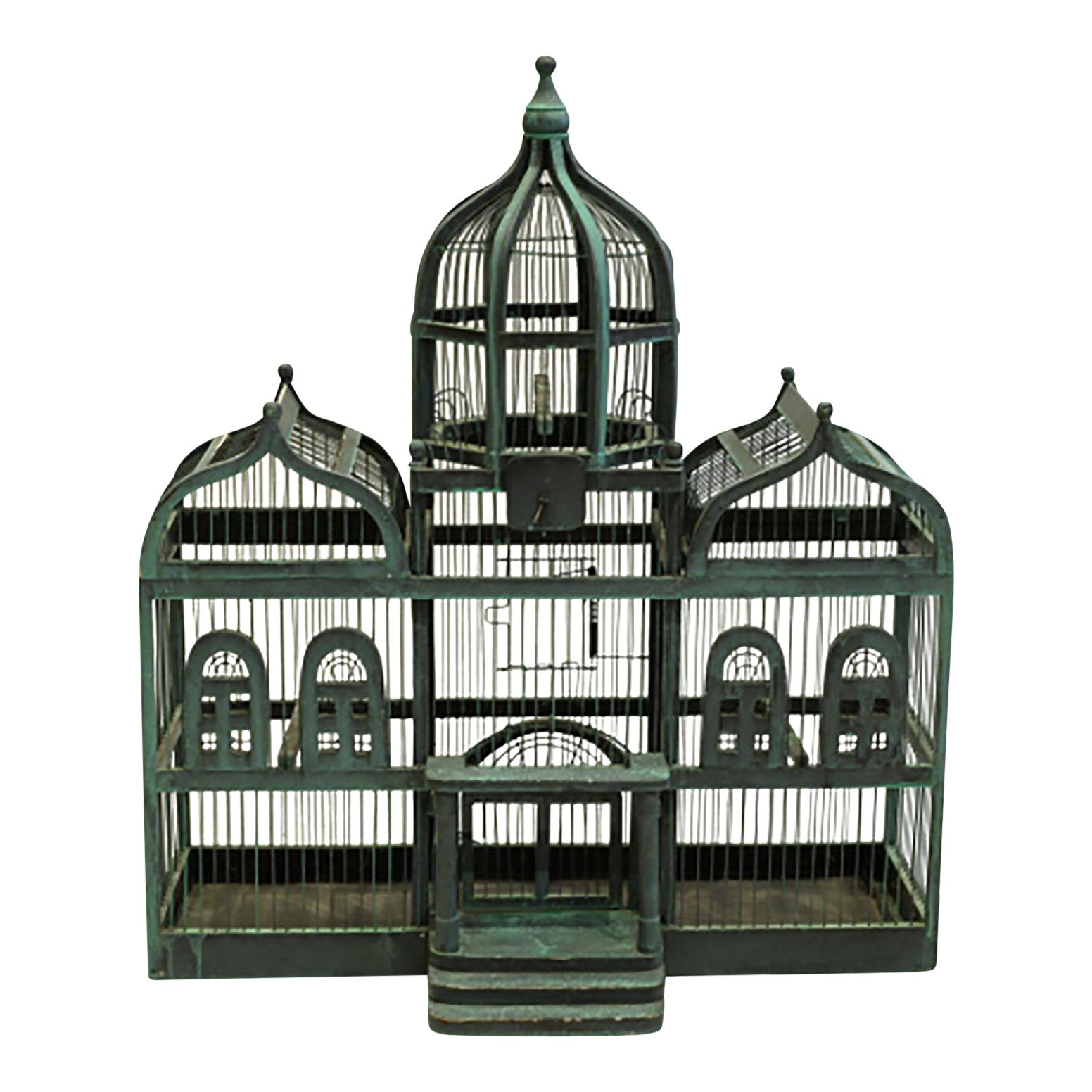 19Th C Victorian Triple Domed Wooden Cathedral Taj Mahal Bird