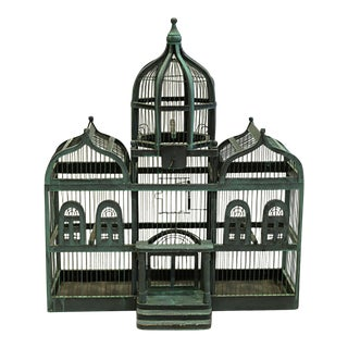 19th C. Victorian Triple Domed Wooden Cathedral Taj Mahal Bird Cage C. 1800s