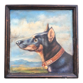 Antique Wood Tray with Dog Portriat Painting For Sale