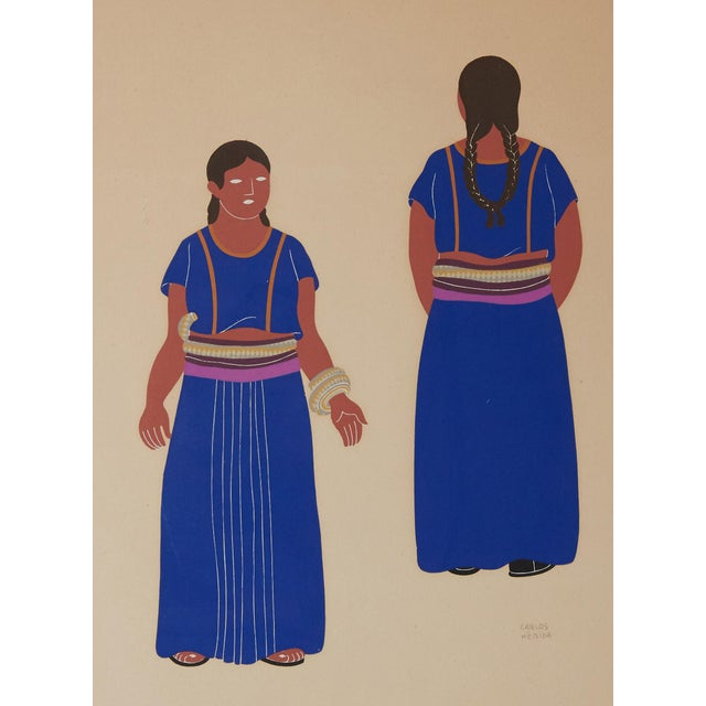 Abstract 1940s Mexican Framed Costume Silk Screen by Carlos Merida For Sale - Image 3 of 5