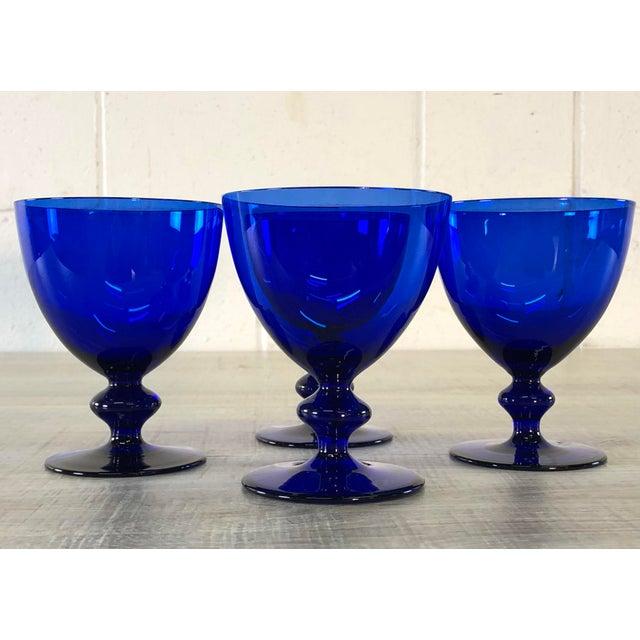 Glass Vintage Cobalt Glass Goblets, Set of 4 For Sale - Image 7 of 7