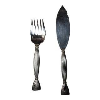 Silverplate Hermès Moisson Wheat Sheaf Servers - A Pair