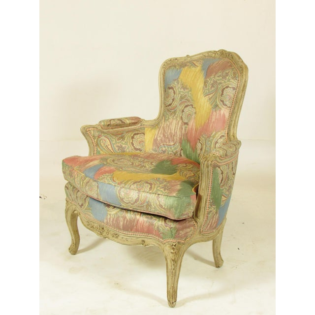 Louis XV-Style Painted Bergere For Sale - Image 4 of 8