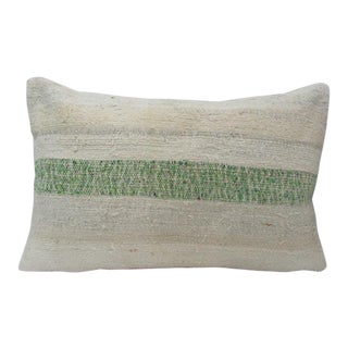 Green & Beige Vintage Kilim Pillow For Sale
