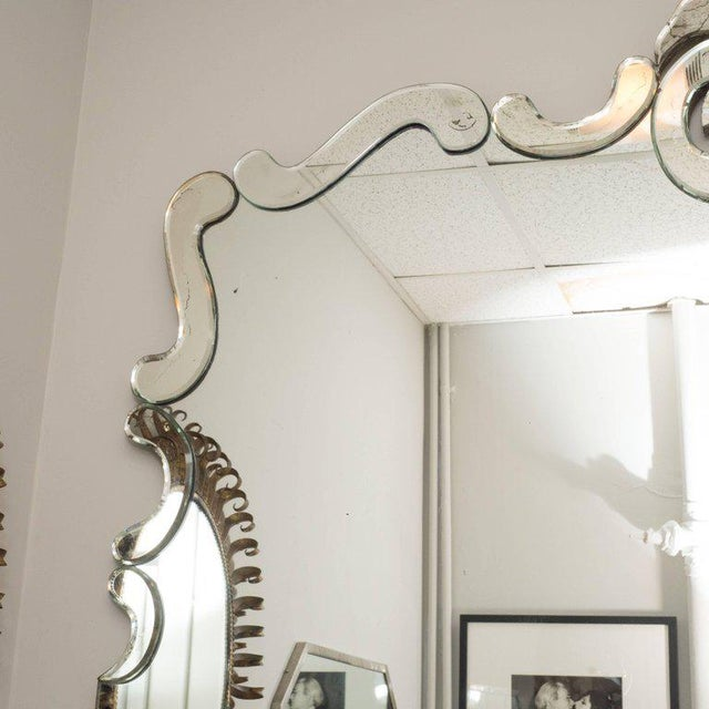 1940s 1940s Art Deco Venetian Style Mirror with Raised Scroll Form Border For Sale - Image 5 of 6