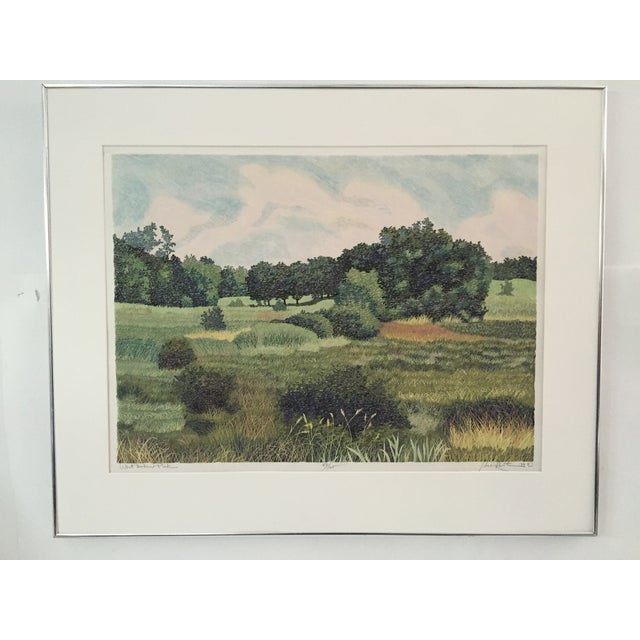 "Woodcut titled ""West Baker Park"" by Gordon Louis Mortensen, signed lower right. Printed with 23 colors and 20 press runs,..."