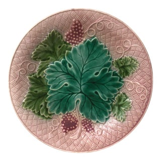 French Majolica Grapes Plate Salins Circa 1890 For Sale