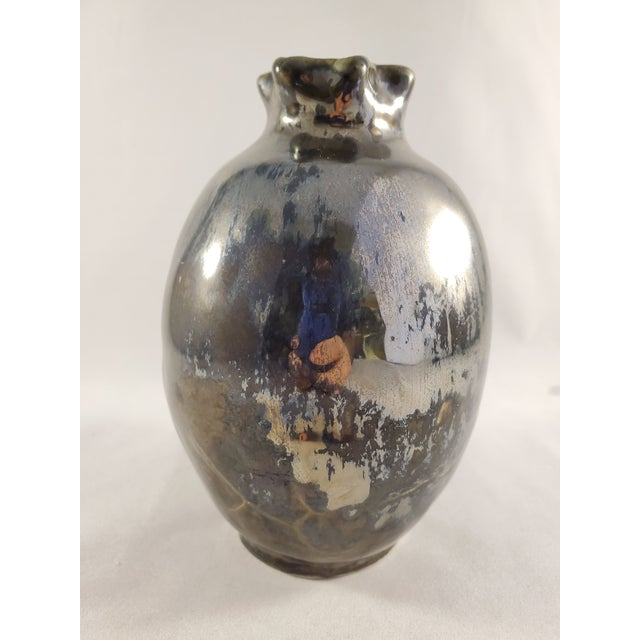 Contemporary Mercury Glazed Handmade Pomegranate Porcelain Vase For Sale - Image 3 of 12
