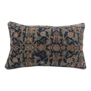 Vintage Handmade Navy Blue Turkish Kilim Pillow Cover For Sale