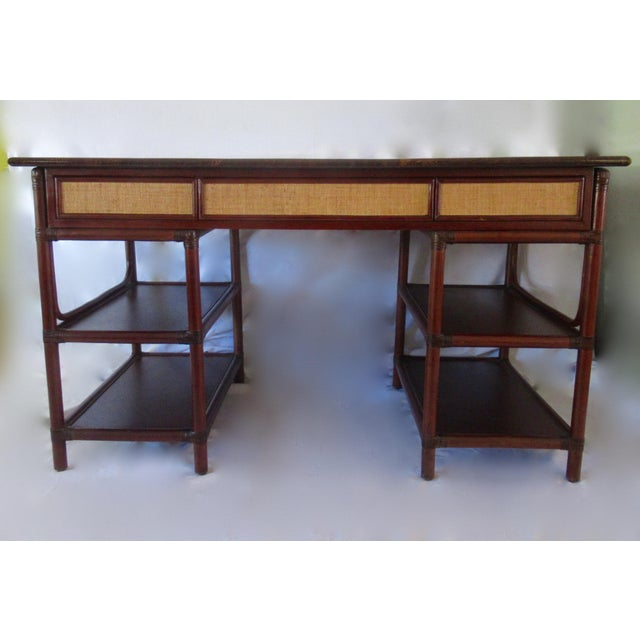 1970s British Colonial-Style Rattan Tobacco Leaf Top Writing Desk For Sale - Image 13 of 13