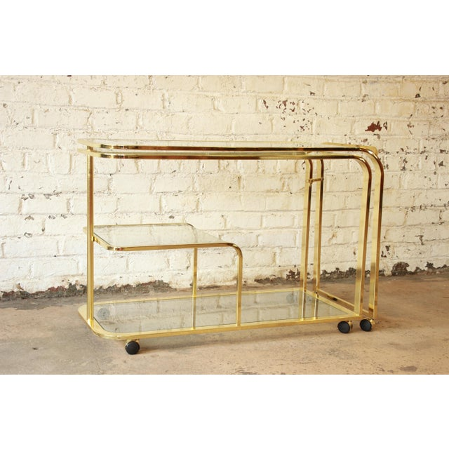Hollywood Regency Milo Baughman for Dia Expandable Brass and Glass Bar Cart For Sale - Image 3 of 11