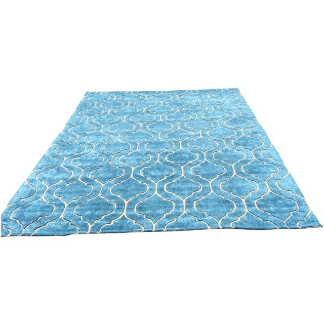 Hand Tufted Trellis Blue Rug - 8' X 10' - Image 1 of 6