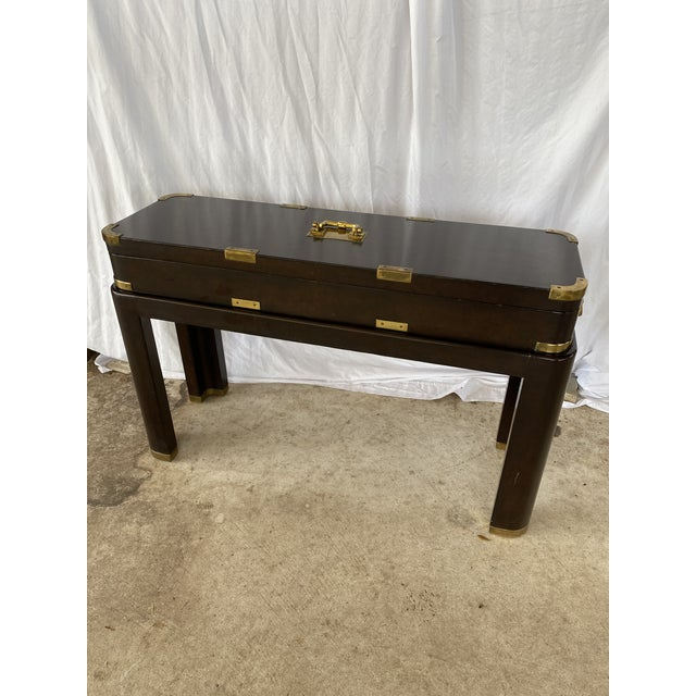 Maitland-Smith Campaign Lather Wrapped - Console Table - a Pair For Sale - Image 13 of 13