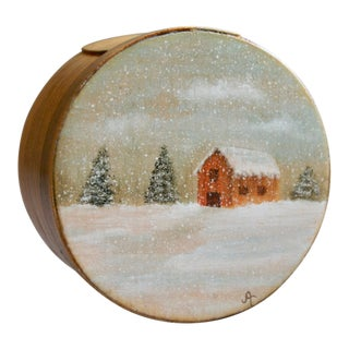Hand Painted Bentwood Trinket Box For Sale
