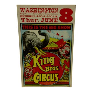 "Vintage Circus Poster ""King Bros. Circus"" 1960 For Sale"