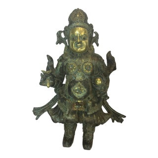 Bronze Antique Jeweled Statue of Asian Solid Bronze Worries For Sale