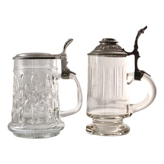 1960s Vintage Glass and Crystal Beer Mugs - a Pair For Sale