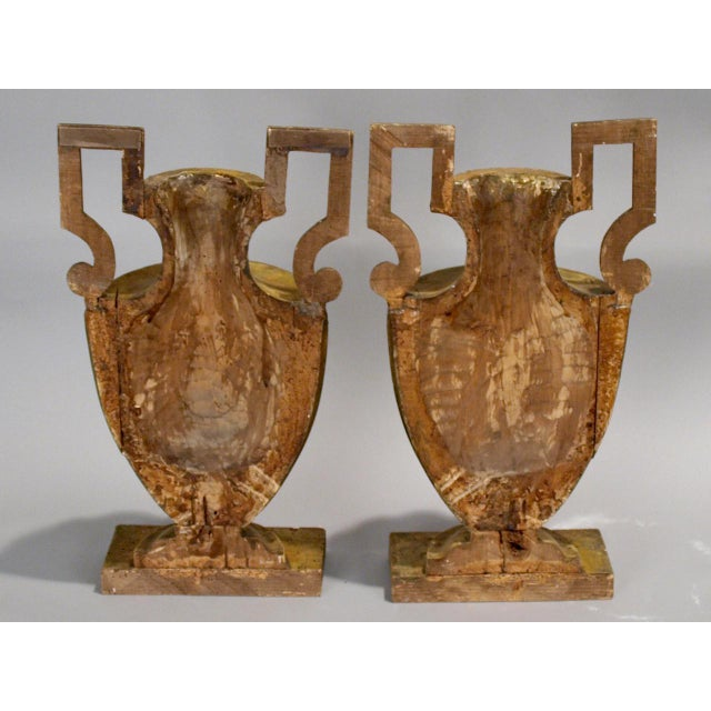 Pair of 18th Century Half-Urn Carved Wood Decorations For Sale - Image 4 of 5