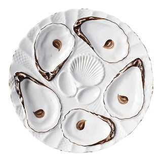 1800s White Porcelain Oyster Sea Shell Serving Plate in Brown and Gold, From Germany For Sale