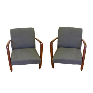 1960s Vintage Italian Modern Design Walnut Armchairs in Gray Blue Denim - a Pair For Sale