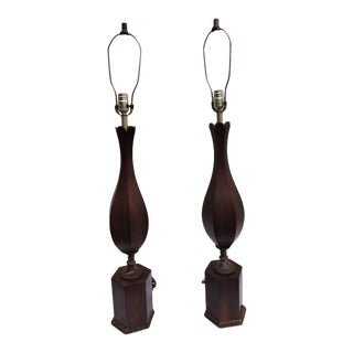 Mid-Century Modern Tall Wood Table Lamps - a Pair For Sale
