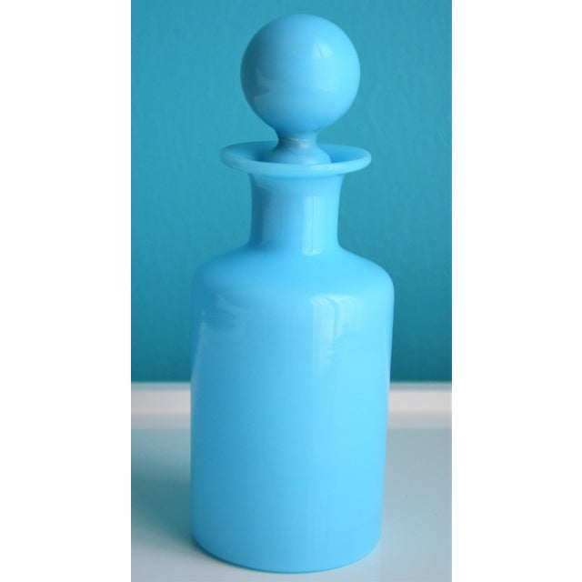 Boho Chic 1940's Antique Portieux Vallerysthal Blue Opaline Perfume Bottle For Sale - Image 3 of 8