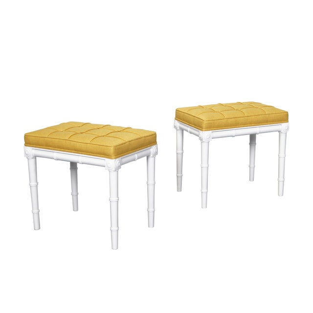 Yellow Vintage Faux Bamboo Stools For Sale - Image 8 of 8