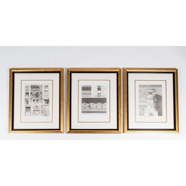 Mid-20th Century Architectural Lithograph With Giltwood Frame - Set of 3 For Sale - Image 12 of 13