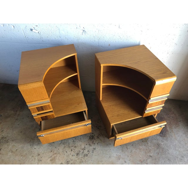 Mid-Century Modern A Pair of Vintage Mid Century Modern Early 80's Nightstands For Sale - Image 3 of 12