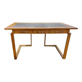 Contemporary Ash Wood and Faux Leather Desk With Three Drawers For Sale