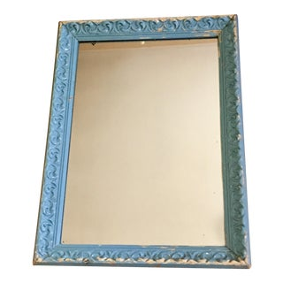 Vintage Shabby Chic Chippy Blue Wall Mirror