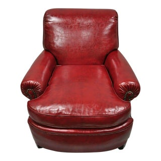 Early 20th Century Antique English Regency Style Burgundy Red Vinyl Faux Leather Club Lounge Chair For Sale
