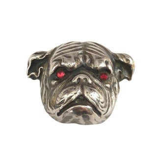Sterling Silver Art Nouveau Bull Dog Watch Pin Brooch For Sale